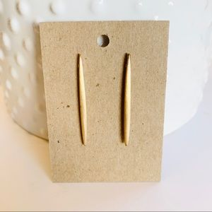 Brushed Gold Long Bar Drop Earrings